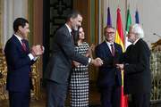 Miguel Saenz Sagaseta (r) receives the Gold Medal of Merit in Fine Arts 2017 from King Felipe VI of Spain and Queen Letizia of Spain on February 18, 2018 in Cordoba, Spain.