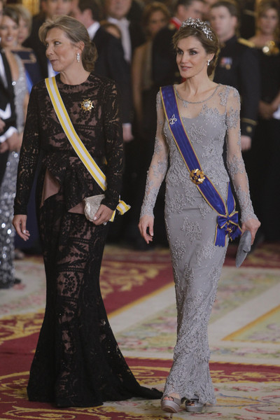Queen Letizia of Spain (L) and Maria Clemencia Rodriguez de Santos (R) attend a Gala dinner at the Royal Palace on March 2, 2015 in Madrid, Spain.