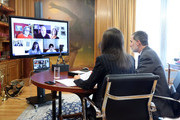 In this handout photo provided by Casa de S.M. el Rey Spanish Royal Household, King Felipe of Spain and Queen Letizia of Spain take part in a video conference with the Spanish Committee of Representatives Of People with Disabilities, (CERMI) at Zarzuela Palace on March 27, 2020 in Madrid, Spain.