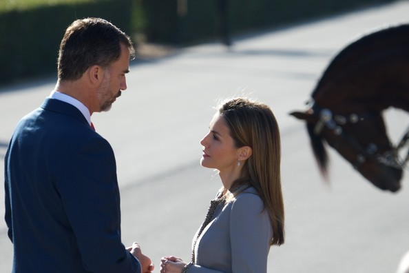 King Felipe VI of Spain and Queen Letizia of Spain receive Chilean President Michelle Bachelet at the El Pardo Palace on October 29, 2014 in Madrid, Spain.