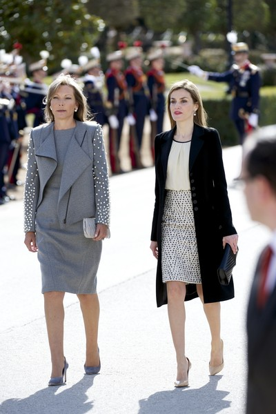 Queen Letizia of Spain (R) and King Felipe VI of Spain (Not Pictured) receives the President of Colombia Juan Manuel Santos (Not Pictured) and Maria Clemencia Rodriguez de Santos (L) at El Pardo Royal Palace on March 1, 2015 in Madrid, Spain.