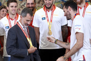 King Felipe VI of Spain and Queen Letizia of Spain receive Spain Basketball National Selection at Zarzuela Palace on September 16, 2019 in Madrid, Spain.