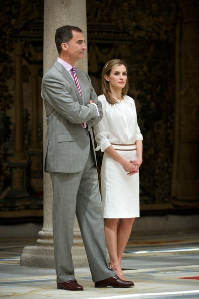 King Felipe VI of Spain and Queen Letizia of Spain attend a reception to members of the 'Ruta Quetzal BBVA 2014' expedition at El Pardo Palace on July 21, 2014 in Madrid, Spain.