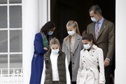 King Felipe and Queen Letizia of Spain with their daughters Princess Leonor (C) and Princess Sofia during their visit to Somao, which has been honoured as the 2020 Best Asturian Village, the day after the 'Princesa de Asturias' Awards on October 17, 2020 in Somao, Spain.