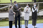 King Felipe and Queen Letizia of Spain with their daughters Princess Leonor (L) and Princess Sofia during their visit to Somao, which has been honoured as the 2020 Best Asturian Village, the day after the 'Princesa de Asturias' Awards on October 17, 2020 in Somao, Spain.