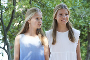 Princess Leonor of Spain (L) and Princess Sofia of Spain (R) visit 'Son Marroig' museum on August 08, 2019 in Palma de Mallorca, Spain.