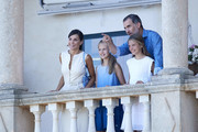 King Felipe VI of Spain, Queen Letizia of Spain, Princess Leonor of Spain (L) and Princess Sofia of Spain (R) visit 'Son Marroig' museum on August 08, 2019 in Palma de Mallorca, Spain.