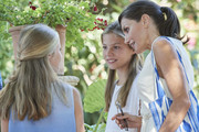 Queen Letizia of Spain, Princess Leonor of Spain (L) and Princess Sofia of Spain (R) visit 'Son Marroig' museum on August 08, 2019 in Palma de Mallorca, Spain.