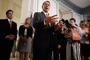 """Speaker of the House John Boehner (R-OH) (C) talks to reporters after a closed Republican caucus meeting with House Majority Leader Eric Cantor (R-VA) (L) and U.S. Rep. Renee Ellmers (R-NC) (2nd L) in the Canon House Office Building June 14, 2011 in Washington, DC. When asked if he thought U.S. Rep. Anthony Weiner (D-NY) should resign, Boehner replied, """"Yes."""""""