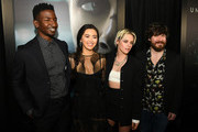 """(L-R) Mamoudou Athie, Jessica Henwick, Kristen Stewart and John Gallagher Jr. attend a special fan screening of 20th Century Fox's """"Underwater"""" at Alamo Drafthouse Cinema on January 07, 2020 in Los Angeles, California."""