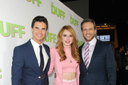 "(L-R) Actors Robbie Amell, Bella Thorne, and Director Ari Sandel attend a special Los Angeles fan screening of ""THE DUFF"" on February 12, 2015 in Los Angeles, California."