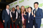 "(L-R) Director Ari Sandel, actors Romany Malco, Nick Eversman, Bella Thorne, Mae Whitman, Ken Jeong, and Robbie Amell attend a special Los Angeles fan screening of ""THE DUFF"" on February 12, 2015 in Los Angeles, California."