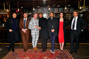 """(L-R) Henry Golding, Guy Ritchie, Tim League, Matthew McConaughey, Charlie Hunnam, Michelle Dockery, and Hugh Grant attend the Special NY Screening of """"The Gentlemen"""" at the Alamo Drafthouse on January 11, 2020 in New York City."""