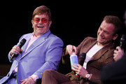 Elton John and Taron Egerton speak onstage during a Special Screening Q&A moderated by Dave Karger  in support of Rocketman at the Paramount Theatre on January 04, 2020 in Hollywood, California.