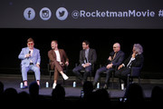 (L-R) Elton John, Taron Egerton, Dave Karger, Bernie Taupin and Dexter Fletcher speak onstage during a Special Screening Q&A moderated by Dave Karger  in support of Rocketman at the Paramount Theatre on January 04, 2020 in Hollywood, California.