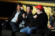 (L-R) Actor Josh Brolin, former soldier Russell Baer and filmmaker Michael Moore participate in a discussion following a special screening of The Weinstein Company's The Tillman Story at AMC Loews Lincoln Square 13 on August 11, 2010 in New York City.