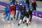 Claudia Pechstein of Germany leads during the Ladies' Speed Skating Mass Start Semifinal 2 on day 15 of the PyeongChang 2018 Winter Olympic Games at Gangneung Oval on February 24, 2018 in Gangneung, South Korea.