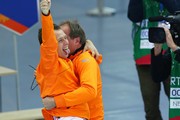 Stefan Groothuis of the Netherlands celebrate with his coach after the Men's 1000m Speed Skating event during day 5 of the Sochi 2014 Winter Olympics at at Adler Arena Skating Center on February 12, 2014 in Sochi, Russia.
