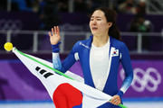 Sang-Hwa Lee of Korea celebrates after winning the silver medal in the Ladies' 500m Individual Speed Skating Final on day nine of the PyeongChang 2018 Winter Olympic Games at Gangneung Oval on February 18, 2018 in Gangneung, South Korea.