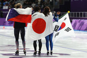 Bronze medalist Karolina Erbanova of the Czech Republic, gold medalist Nao Kodaira of Japan and silver medalist Sang-Hwa Lee of Korea celebrate after the Ladies' 500m Individual Speed Skating Final on day nine of the PyeongChang 2018 Winter Olympic Games at Gangneung Oval on February 18, 2018 in Gangneung, South Korea.