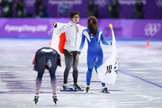 Nao Kodaira of Japan, Sang-Hwa Lee of Korea and Karolina Erbanova of the Czech Republic celebrate after winning medals during the Ladies' 500m Individual Speed Skating Final on day nine of the PyeongChang 2018 Winter Olympic Games at Gangneung Oval on February 18, 2018 in Gangneung, South Korea.