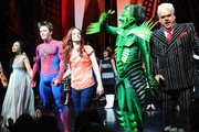 """T.V. Carpio, Reeve Carney, Jennifer Damiano,Patrick Page and Michael Mulherem on stage at """"Spider-Man Turn Off The Dark"""" Broadway opening night at Foxwoods Theatre on June 14, 2011 in New York City."""