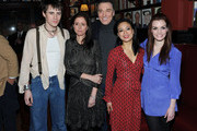 """Actors Reeve Carney, Julie Taymor, Patrick Page, T.V. Carpio and Jennifer Damiano attend the pre-cocktail reception for the """"Spider-Man Turn Off the Dark"""" special Broadway preview performance benefitting the Actors Fund at Sardi's on February 3, 2011 in New York City."""