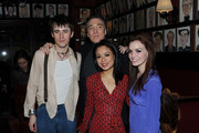 """Actors Reeve Carney, Patrick Page, T.V. Carpio and Jennifer Damiano attend the pre-cocktail reception for the """"Spider-Man Turn Off the Dark"""" special Broadway preview performance benefitting the Actors Fund at Sardi's on February 3, 2011 in New York City."""