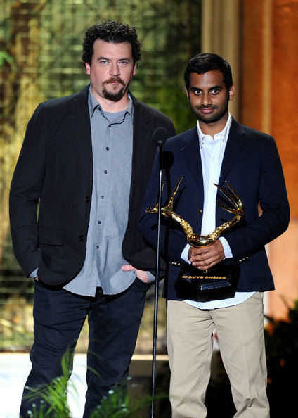 "Actors Danny McBride (L) and Azis Ansari onstage during Spike TV's 5th annual 2011 ""Guys Choice"" Awards at Sony Pictures Studios on June 4, 2011 in Culver City, California."