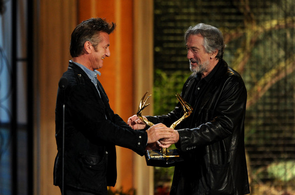 "Actor Sean Penn accepts the Guy Movie Hall of Fame award for ""Fast Times on Ridgemont High"" from actor Robert De Niro onstage during Spike TV's 5th annual 2011 ""Guys Choice"" Awards at Sony Pictures Studios on June 4, 2011 in Culver City, California."