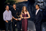 (L-R) Director Zack Snyder and actors Henry Cavill, Amy Adams, and Russell Crowe speak onstage during Spike TV's Guys Choice 2013 at Sony Pictures Studios on June 8, 2013 in Culver City, California.