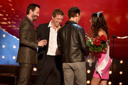 "(L-R) Actors Keanu Reeves, Hugh Grant, Matthew McConaughey, and  Sandra Bullock onstage during Spike TV's ""Guys Choice 2014"" at Sony Pictures Studios on June 7, 2014 in Culver City, California."