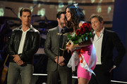 "(L-R) Actors Matthew McConaughey,  Keanu Reeves,  Hugh Grant, and the Winner of  Decade of Hotness Sandra Bullock speak onstage during Spike TV's ""Guys Choice 2014"" at Sony Pictures Studios on June 7, 2014 in Culver City, California."