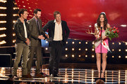 "Actress Sandra Bullock (R) accepts the Decade of Hotness award from actors Matthew McConaughey, Keanu Reeves and Hugh Grant onstage during Spike TV's ""Guys Choice 2014"" at Sony Pictures Studios on June 7, 2014 in Culver City, California."