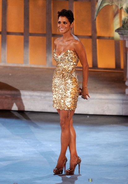 "Actress Halle Berry speaks onstage during Spike TV's ""Scream 2010"" at The Greek Theatre on October 16, 2010 in Los Angeles, California."