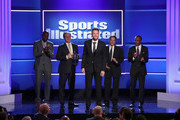 (L-R) Jerry Rice, Joe Lacob, Joel McHale, Peter Guber and Sugar Ray Leonard speak onstage during Sports Illustrated 2018 Sportsperson of the Year Awards Show on Tuesday, December 11, 2018 at The Beverly Hilton in Los Angeles. Tune in to NBCSN on Thursday, December 13, 2018 at 9pmET to watch the one hour Sports Illustrated Sportsperson of the Year Awards special.