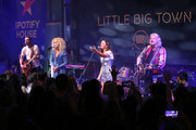 Jimi Westbrook, Kimberly Schlapman, Karen Fairchild, and Phillip Sweet of Little Big Town perform on stage at Spotify House during CMA Fest at Ole Red on June 06, 2019 in Nashville, Tennessee.