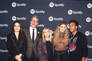 (L-R) Sophia Bush, Paul Feig, Dawn Ostroff, Chief Content Officer, Spotify, Lele Pons and Ludacris pose for a photo at the Spotify Supper during CES 2020 at Hakkasan Las Vegas Restaurant and Nightclub at MGM Grand Hotel & Casino on January 07, 2020 in Las Vegas, Nevada.
