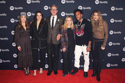 (L-R) Dustee Jenkins, Global Head of Communications, Spotify, Sophia Bush, Paul Feig, Dawn Ostroff, Chief Content Officer, Spotify Ludacris and Lele Pons pose for a photo at the Spotify Supper during CES 2020 at Hakkasan Las Vegas Restaurant and Nightclub at MGM Grand Hotel & Casino on January 07, 2020 in Las Vegas, Nevada.