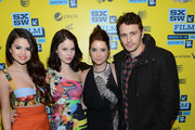 """Actress Selena Gomez, actress Rachel Korine, actress Ashley Benson and actor James Franco attend the green room for """"Spring Breakers"""" during the 2013 SXSW Music, Film + Interactive Festival""""  at the Paramount Theatre on March 10, 2013 in Austin, Texas."""