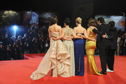 """(L-R) Actresses Selena Gomez, Vanessa Hudgens, Ashley Benson, Rachel Korine with actor James Franco and director Harmony Korine attend the """"Spring Breakers"""" Premiere during The 69th Venice Film Festival at the Palazzo del Cinema on September 5, 2012 in Venice, Italy."""