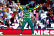 Imran Tahir of South Africa celebrates throwing to run out Suranga Lakmal of Sri Lanka during the ICC Champions Trophy match between Sri Lanka and South Africa at The Kia Oval on June 3, 2017 in London, England.