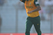 Imran Tahir of South Africa celebrates dismissing Kusal Perera of Sri Lanka during the ICC World Twenty20 Bangladesh 2014 Group 1 match between Sri Lanka and South Africa at Zahur Ahmed Chowdhury Stadium on March 22, 2014 in Chittagong, Bangladesh.