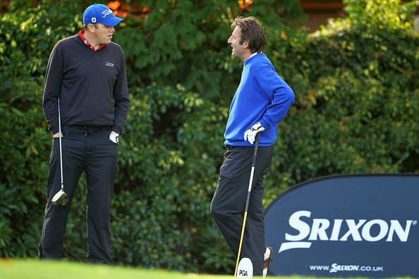 David Mortimer of Fore Ireland and David Shacklady of Mossock Hall talk before teeing off on the 1st hole during the first day of the Srixon PGA Playoff Final at Little Aston Golf Club on November 3, 2010 in Sutton Coldfield, England.