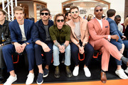 (L-R) Toby Huntington-Whiteley, Robert Konjic, Dougie Poynter, Jim Chapman and Eric Underwood sit front row as St James's Hosts LFWM Shows on Jermyn Street on June 9, 2018 in London, England.