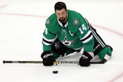 Jamie Benn #14 of the Dallas Stars stretches before a preseason game against the St. Louis Blues at American Airlines Center on September 18, 2018 in Dallas, Texas.