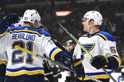 Colton Parayko #55 of the St. Louis Blues celebrates his goal with Patrik Berglund #21 to take a 2-0 led over the Los Angeles Kings during the first period at Staples Center on March 10, 2018 in Los Angeles, California.