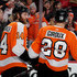 Claude Giroux Sean Couturier Photos - Sean Couturier #14 of the Philadelphia Flyers is congratulated by teammate Claude Giroux #28 after Couturier scored in the second period against the St. Louis Blues on January 6, 2018 at Wells Fargo Center in Philadelphia, Pennsylvania. - St Louis Blues v Philadelphia Flyers