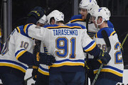 The St. Louis Blues celebrate a goal by Brayden Schenn #10 in the first period of their game against the Vegas Golden Knights at T-Mobile Arena on March 30, 2018 in Las Vegas, Nevada.