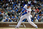 Anthony Rizzo #44 of the Chicago Cubs hits a single in the first inning against the St. Louis Cardinals at Wrigley Field on May 03, 2019 in Chicago, Illinois.